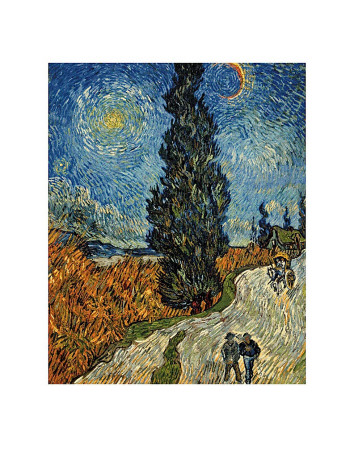 Country Road in Provence by Night, c.1890 Posters van Vincent van Gogh