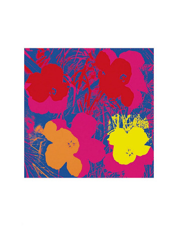 Flowers, 1970 (Red, Yellow, Orange on Blue) Art Print