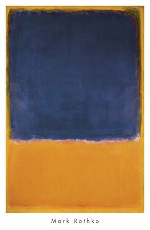 Zonder titel, ca.1950, zwart vlak op oranje/geel Posters van Mark Rothko
