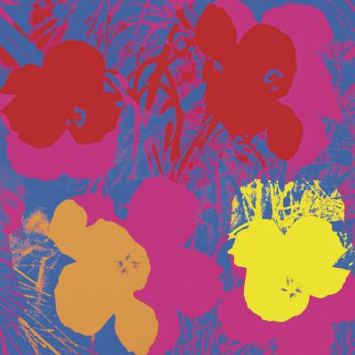 Fiori, 1970 (rosso, giallo, arancione su blu) Stampe di Andy Warhol