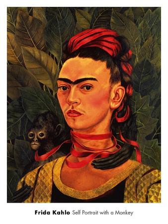 Self-Portrait with Monkey, c.1940 Kunsttryk