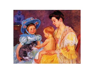 Children Playing with a Cat Poster by Mary Cassatt
