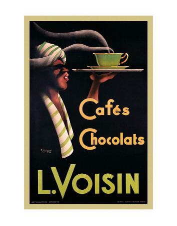 Reklame for L. Voisin kaffe og chokolade, 1935, på fransk Posters af Noel Saunier