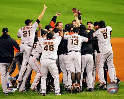 The San Francisco Giants Celebrate Winning the 2010 NLCS Photo