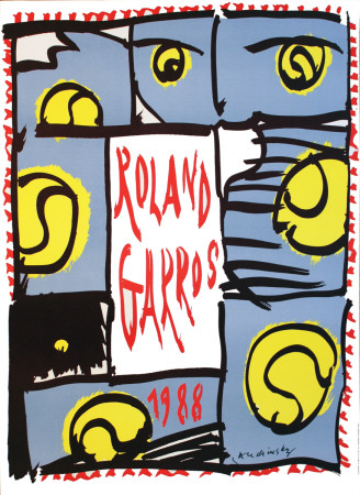Roland Garros, 1988 Collectable Print by Pierre Alechinsky