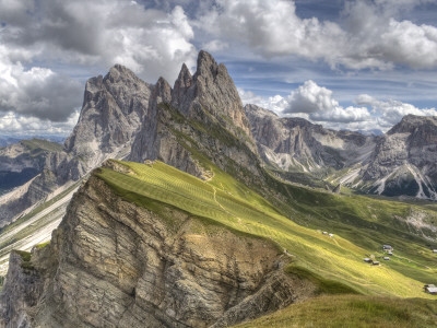 Alpine Meadows, Jagged Mountains, and Fluffy Clouds Photographic Print by James Buchan