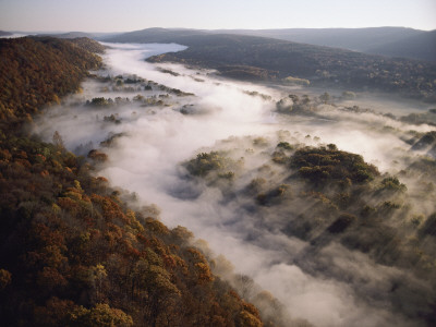 Fog Hugging the Delaware River Valley in Pennsylvania Photographic Print