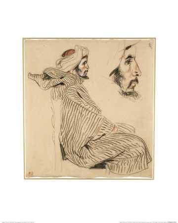 Seated Arab, a Chalk Drawing with Watercolour Giclee Print by Eugene Delacroix