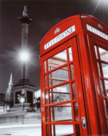 Red Telephone Box - Trafalgar Square Póster de tamaño reducido