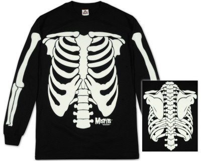 Manga larga: The Misfits, esqueleto que brilla en la oscuridad Camiseta