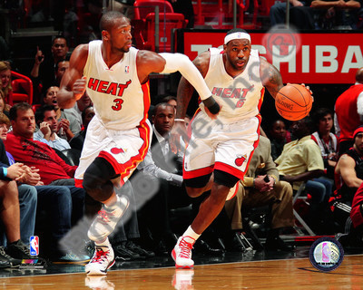 Dwyane Wade & LeBron James 2010-11 Action Foto