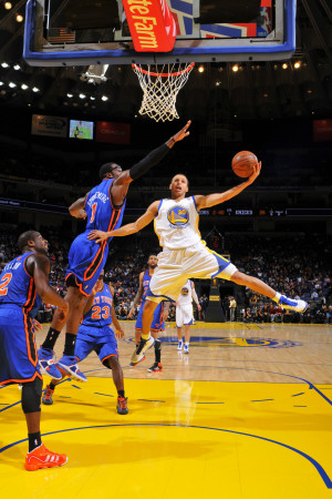 New York Knicks v Golden State Warriors: Stephen Curry and Amare Stoudamire Fotografisk trykk