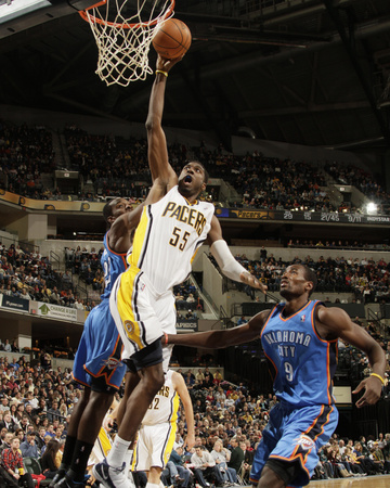 Oklahoma City Thunder v Indiana Pacers: Roy Hibbert and Serge Ibaka Photo by Ron Hoskins
