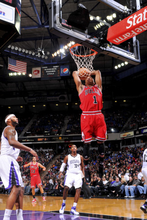 Chicago Bulls versus Sacramento Kings: Derrick Rose dunk NBA photo