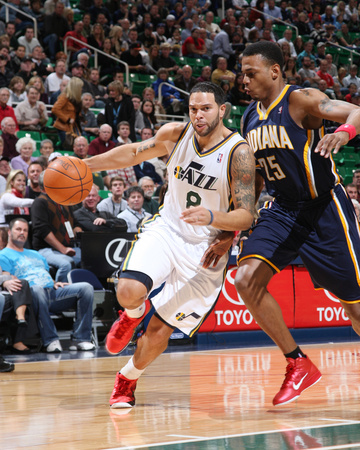 Indiana Pacers v Utah Jazz: Deron Williams and Brandon Rush Photo by Melissa Majchrzak
