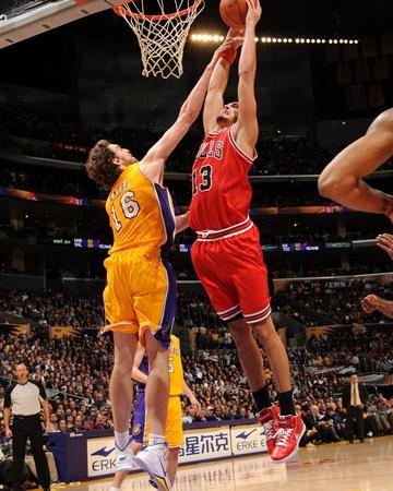 Chicago Bulls v Los Angeles Lakers: Joakim Noah and Pau Gasol Photo by Andrew Bernstein