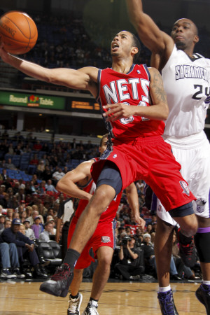 New Jersey Nets v Sacramento Kings: Devin Harris and Carl Landry Lámina fotográfica