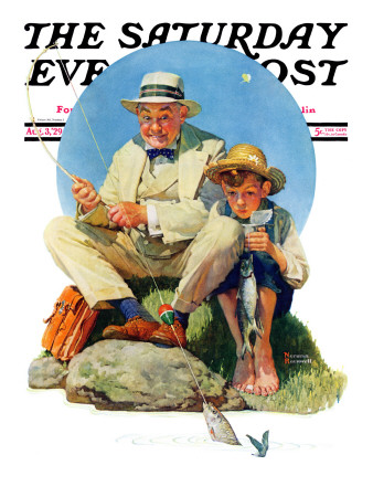 """""""Catching the Big One"""" Saturday Evening Post Cover, August 3,1929 Giclee Print by Norman Rockwell"""