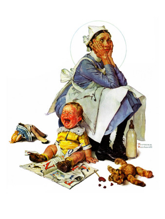 """Exasperated Nanny"", October 24,1936 Giclée-Druck von Norman Rockwell"