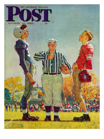 """Coin Toss"" Saturday Evening Post Cover, October 21,1950 Giclee Print by Norman Rockwell"