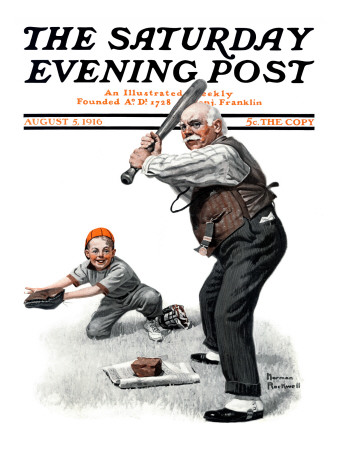 """Gramps at the Plate"" Saturday Evening Post Cover, August 5,1916 Giclee Print by Norman Rockwell"