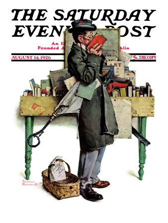 """""""Bookworm"""" Saturday Evening Post Cover, August 14,1926 Giclee Print by Norman Rockwell"""