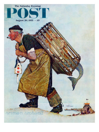 """""""Mermaid"""" or """"Lobsterman"""" Saturday Evening Post Cover, August 20,1955 Giclee Print by Norman Rockwell"""