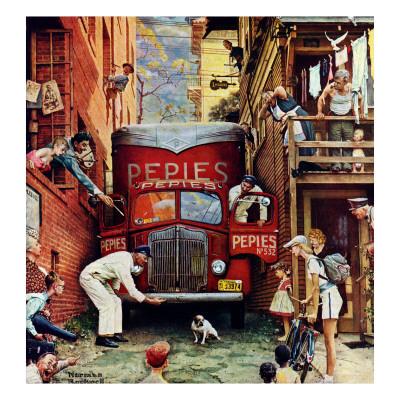 """Road Block"", July 9,1949 ジクレープリント : ノーマン・ロックウェル"