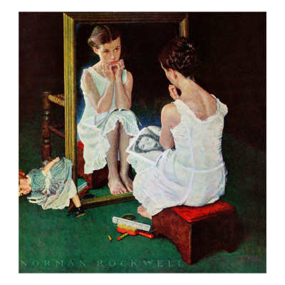 """""""Girl at the Mirror"""", March 6,1954 ジクレープリント : ノーマン・ロックウェル"""