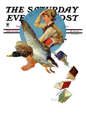 """Summer Vacation, 1934"" Saturday Evening Post Cover, June 30,1934 Giclee Print by Norman Rockwell"