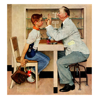 """At the Optometrist"" or ""Eye Doctor"", May 19,1956 Giclee Print by Norman Rockwell"