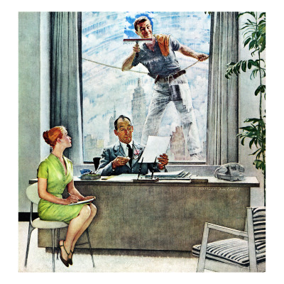 """""""Window Washer"""", September 17,1960 Giclee Print by Norman Rockwell"""