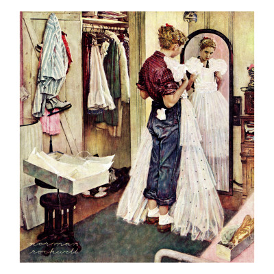 """""""Prom Dress"""", March 19,1949 Giclee Print by Norman Rockwell"""