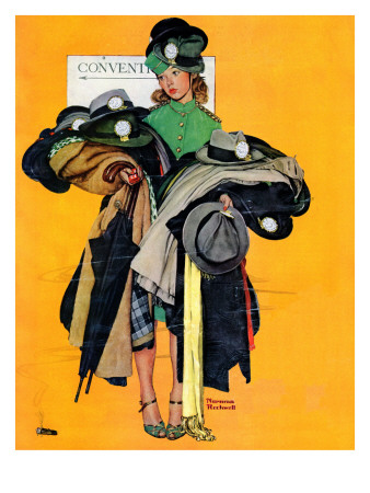 """""""Hatcheck Girl"""", May 3,1941 Giclee Print by Norman Rockwell"""