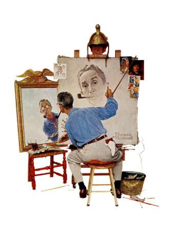 """Triple Self-Portrait"", February 13,1960 Giclee Print by Norman Rockwell"