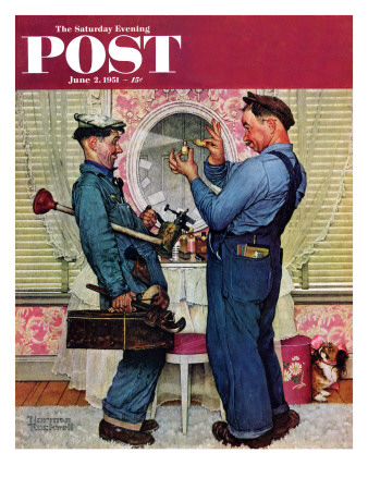 """Plumbers"" Saturday Evening Post Cover, June 2,1951 Giclee Print by Norman Rockwell"