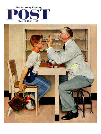 """""""At the Optometrist"""" or """"Eye Doctor"""" Saturday Evening Post Cover, May 19,1956 Giclee Print by Norman Rockwell"""