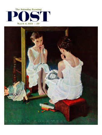"""""""Girl at the Mirror"""" Saturday Evening Post Cover, March 6,1954 Giclee Print by Norman Rockwell"""