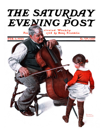 """Grandpa's Little Ballerina"" Saturday Evening Post Cover, February 3,1923 Giclee Print by Norman Rockwell"