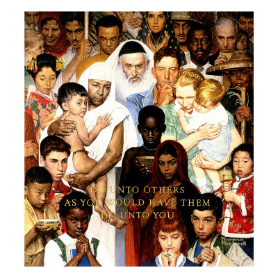 """Golden Rule"" (Do unto others), April 1,1961 Giclee Print by Norman Rockwell"
