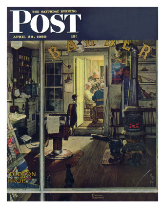 """""""Shuffleton's Barbershop"""" Saturday Evening Post Cover, April 29,1950 Giclee Print by Norman Rockwell"""