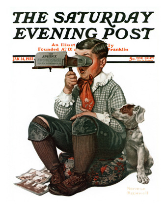 """Stereopticon"" or ""Sphinx"" Saturday Evening Post Cover, January 14,1922 Giclee Print by Norman Rockwell"