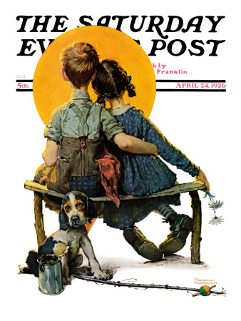 """""""Little Spooners"""" or """"Sunset"""" Saturday Evening Post Cover, April 24,1926 Giclee Print by Norman Rockwell"""