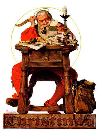 """""""Santa at His Desk"""", December 21,1935 Giclee Print by Norman Rockwell"""