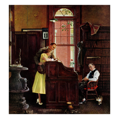 """""""Marriage License"""", June 11,1955 Giclee Print by Norman Rockwell"""