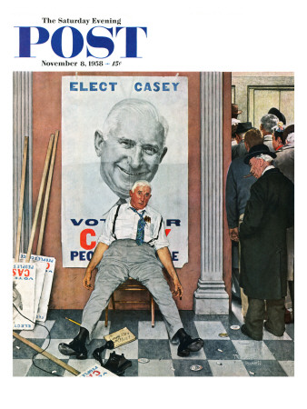 """Elect Casey"" or ""Defeated Candidate"" Saturday Evening Post Cover, November 8,1958 Giclee Print by Norman Rockwell"