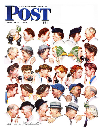 """""""Chain of Gossip"""" Saturday Evening Post Cover, March 6,1948 ジクレープリント : ノーマン・ロックウェル"""