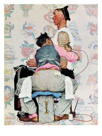 """""""Tattoo Artist"""", March 4,1944 Giclee Print by Norman Rockwell"""