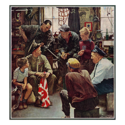 """""""Homecoming Marine"""", October 13,1945 Giclee Print by Norman Rockwell"""
