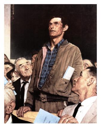 """Freedom Of Speech"", February 21,1943 ジクレープリント : ノーマン・ロックウェル"